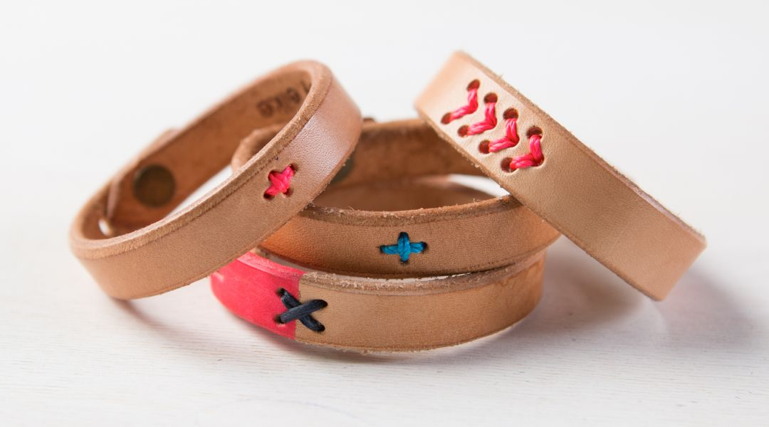 Embroidered Leather Cuffs