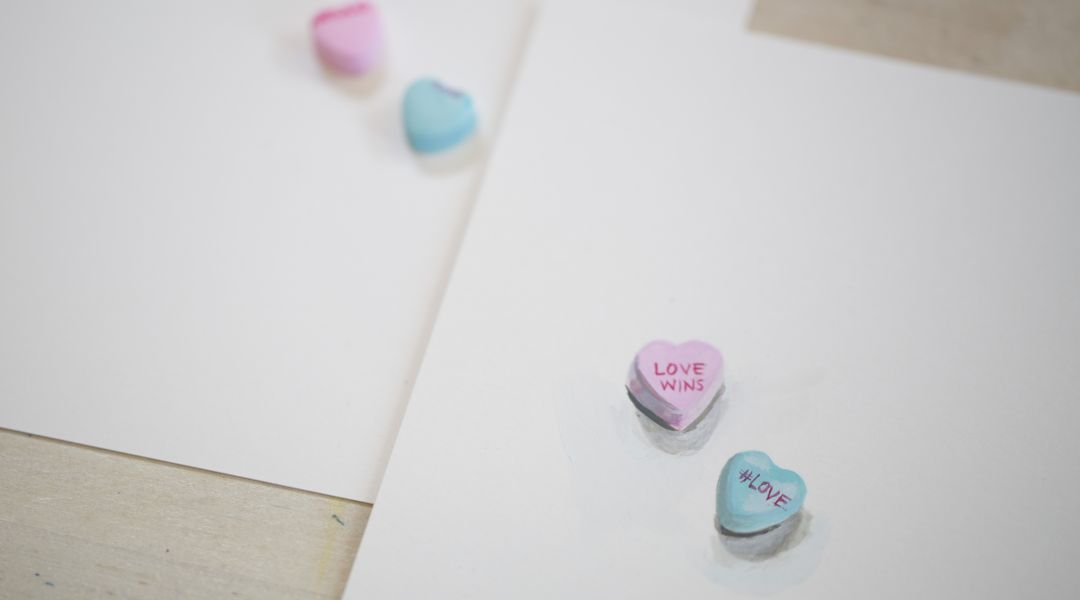 Painted Conversation Hearts: 2/6/18