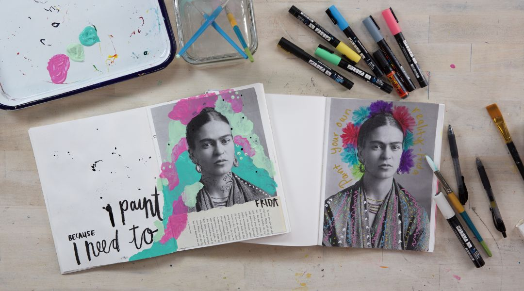 Frida Kahlo Art Journaling with Get Messy Girls 7/26/18