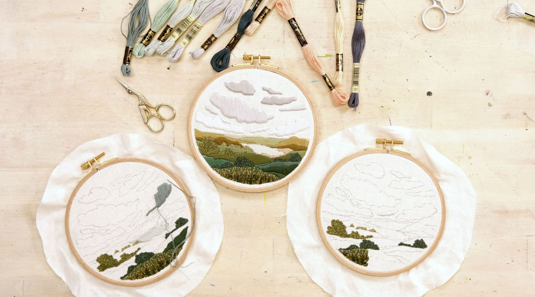 Happy Little (embroidered) Clouds with Lark Rising: 10/25/19