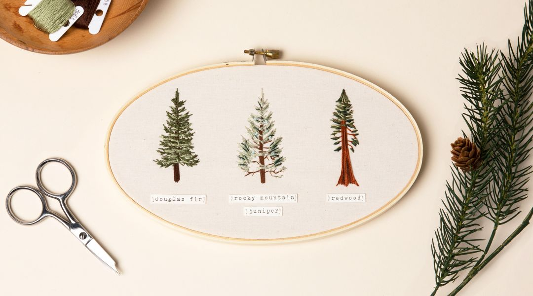 Thread Painting: Embroider Evergreen Trees