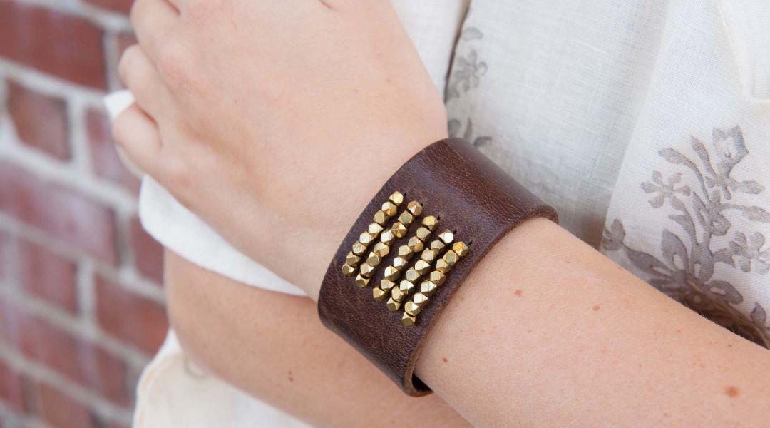 Boho Leather Cuff