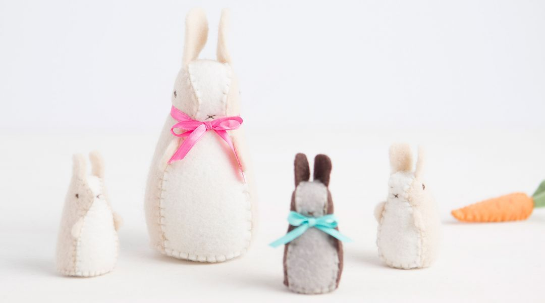Hand Sew Springtime Bunny and Carrot Softies