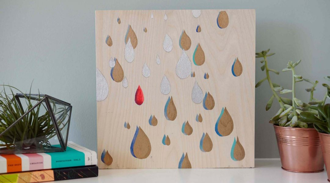 Cricut Crafts: Stenciled Raindrop Wall Art