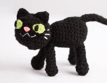 Crocheted Black Cat