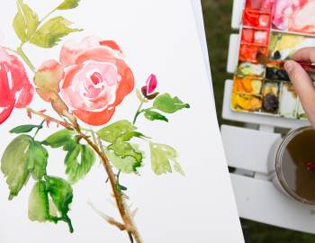 Watercolor Painting in the Garden
