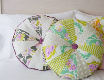 Round Button Cartwheel Pillow