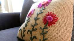 Embroidered Knit Pillow with Kristin Nicholas