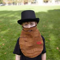 In this homemade costume class, Courtney Cerruti teaches how to make a burly beard out of felt and hot glue.  This is a great Homemade Halloween costume idea for any party.