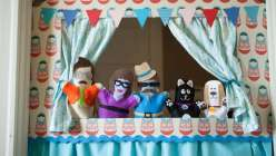 Amelia Strader teaches this crafts for kids class and how to make this homemade puppet stage for kids. This is a great summer kids crafting project to do with your children.
