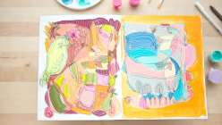 Learn how to do blind contour drawing with your dominant and non-dominant hand and fill in your abstract drawing with acrylic craft paints.