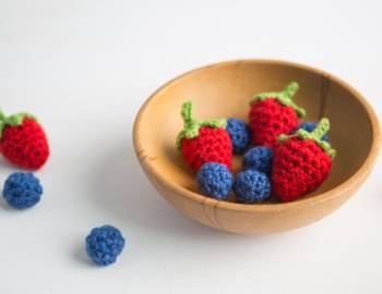 Crocheted Strawberries and Blueberries