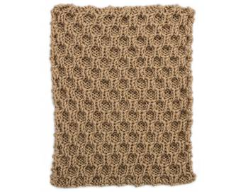 Cabled Afghan: BLOCK H - Honeycomb Trellis Square
